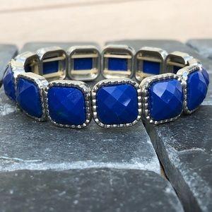 Blue and diamond square bracelet